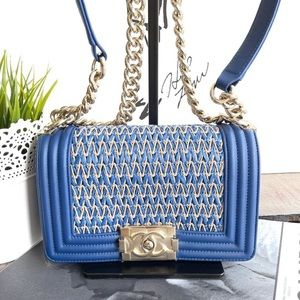Chanel le boy small blue gold hardware